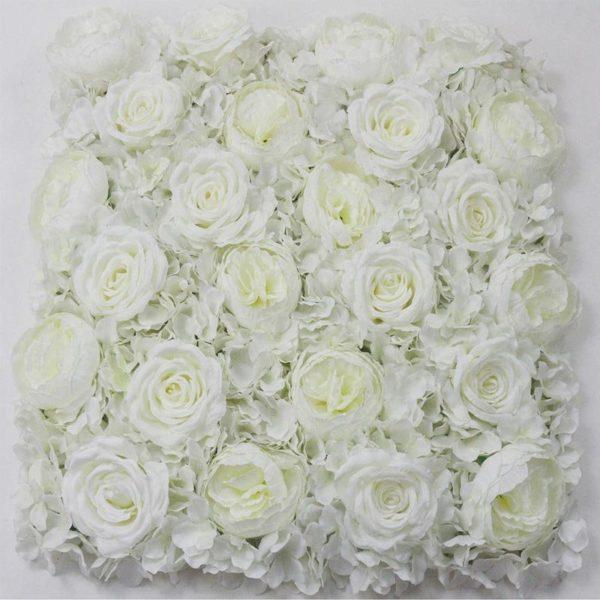 Τεχνητή Φυλλωσιά Ορτανσία Με Τριαντάφυλλο Και Παιώνια Λευκή 50x50
