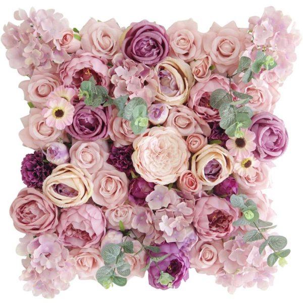 Τεχνητή Φυλλωσιά Τριαντάφυλλο Με Ευκάλυπτο Ροζ 50x50