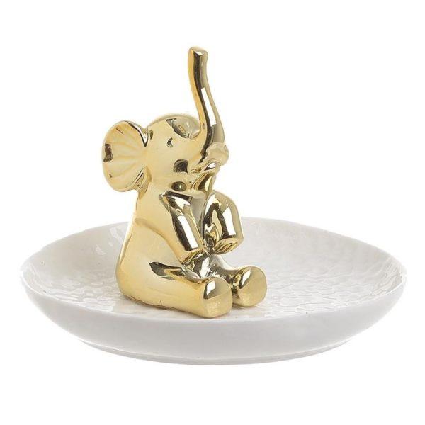 Θήκη Δαχτυλιδιών/ Διακοσμητικό Πιατάκι Ελέφαντας Λευκό/ Χρυσό Δ11.5