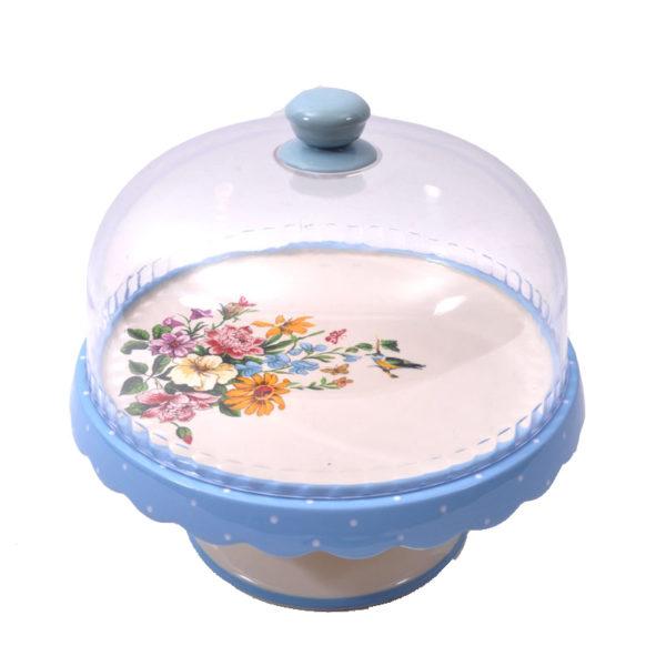 Τουρτιέρα Κεραμική Με Πόδι Και Πλαστικό Καπάκι Φλοράλ/ Πουά Μπλε Με Λουλούδια Φ26