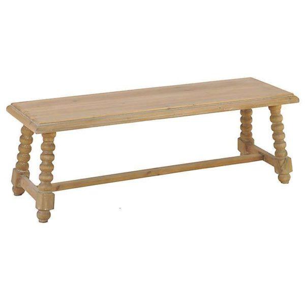 Τραπέζι Χαμηλό Ξύλινο Natural Με Περίτεχνα Πόδια Μ120 Υ40