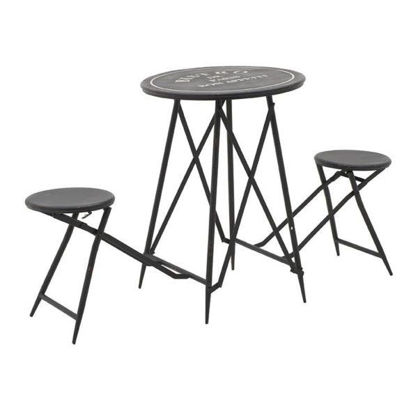 Τραπέζι Και 2 Σκαμπό Αναδιπλούμενο Μαύρο 'Bistrot' Μ157 Υ82