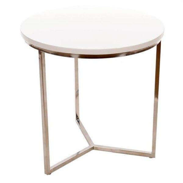 Τραπέζι Λακαριστό Άσπρο Με Ανοξείδωτα Πόδια Δ50 Υ50