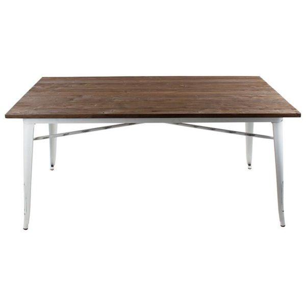 Τραπέζι Με Ξύλινο Ανάγλυφο Καπάκι Και Μεταλλικό Λευκό Σκελετό