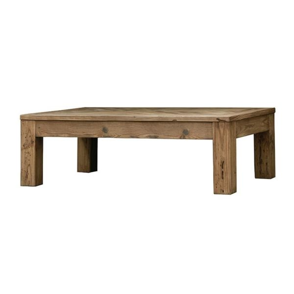 Τραπέζι Μέσης Από Παλαιωμένο Ξύλο Πεύκου Καφέ Ψαροκόκκαλο 135x80 Υ43