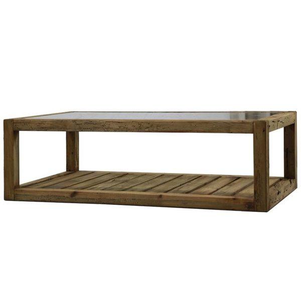 Τραπέζι Μέσης Μακρόστενο Καφέ Μασίφ Ξύλο Πεύκο Με Γυάλινη Επιφάνεια Και Ράφι 140x80 Υ43