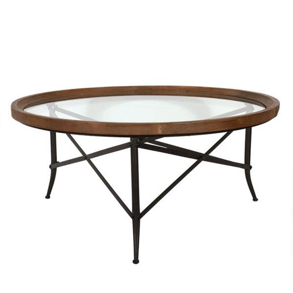Τραπέζι Μέσης Στρογγυλό Με Επιφάνεια Από Γυαλί Και Μεταλλικά Μαύρα Πόδια Δ100 Υ46