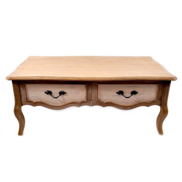 Τραπέζι Μέσης Ξύλινο Δίχρωμο Με 2 Συρτάρια Καφέ Natural/ Μπεζ Υ46.5