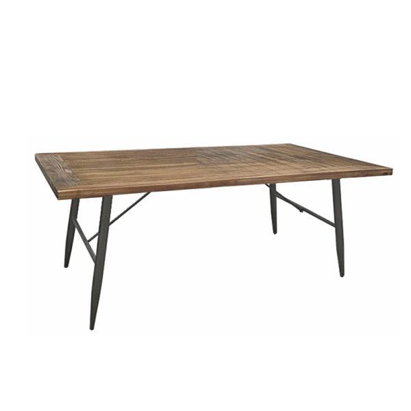 Τραπέζι Μέσης Ξύλινο Καφέ Με Παλαίωση Και Μεταλλικά Πόδια 120x60 Υ50