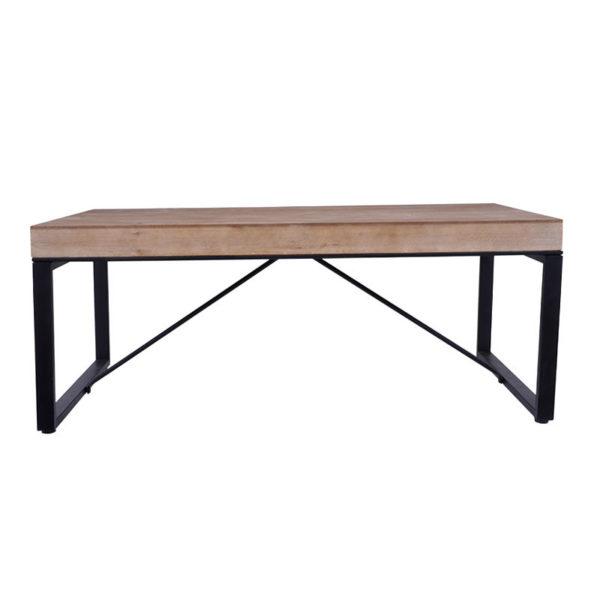 Τραπέζι Μέσης Ξύλινο Natural Με Μαύρα Μεταλλικά Ποδιά Μ116 Υ47