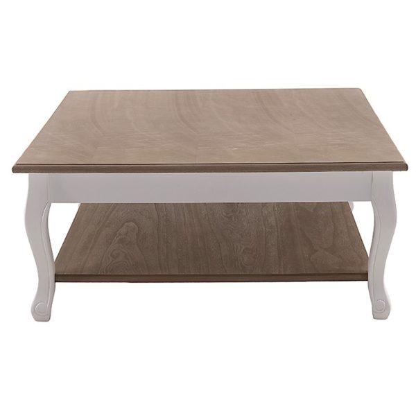 Τραπέζι Μέσης Ξύλινο Τετράγωνο Με Ράφι Αντικέ Λευκό Με Natural Beige Καπάκι 80x80 Υ35