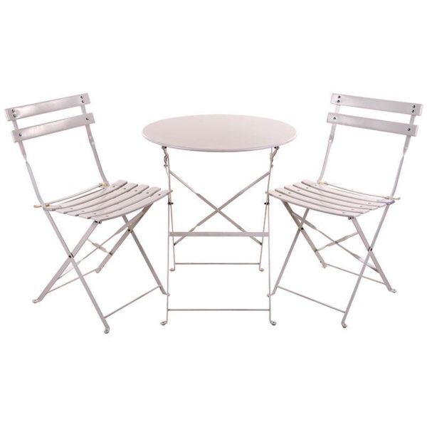 Τραπέζι Μεταλλικό Σετ 3 Λευκό Και 2 Καρέκλες
