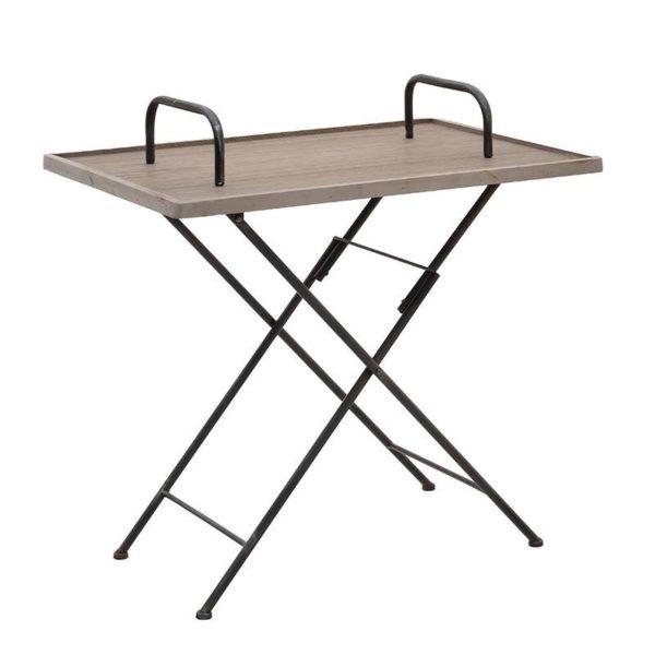 Τραπέζι Πτυσσόμενο Ξύλινο/ Μεταλλικό Με Λαβές Καφέ/ Μαύρο Υ63