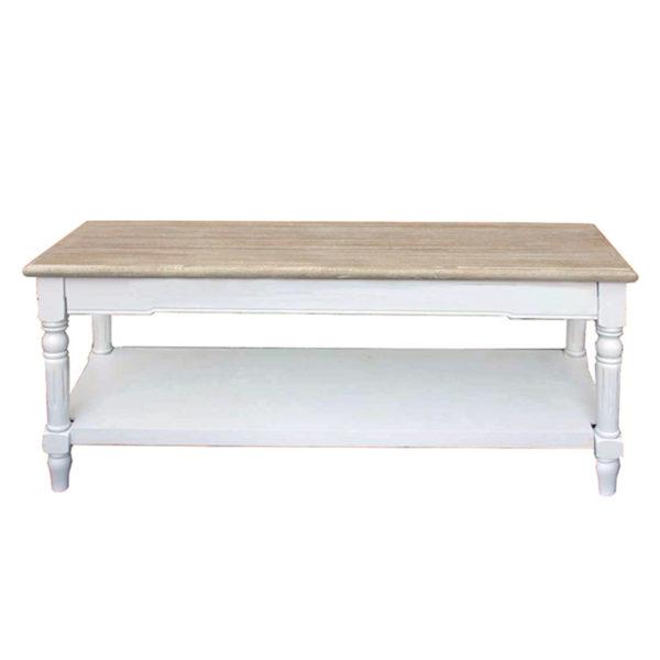 Τραπέζι Σαλονιού Λευκό Με Ντεκαπέ Καπάκι & 1 Ράφι 120x60