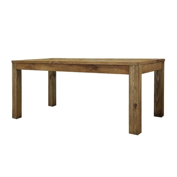 Τραπέζι Τραπεζαρίας Από Παλαιωμένο Ξύλο Πεύκου Καφέ Ψαροκόκκαλο 180x90 Υ76