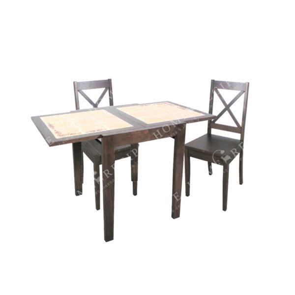 Τραπέζι Τραπεζαρίας Καφέ Ξύλινο Ανοιγόμενο Με Κεραμικά Πλακάκια 73/147x81 Υ75