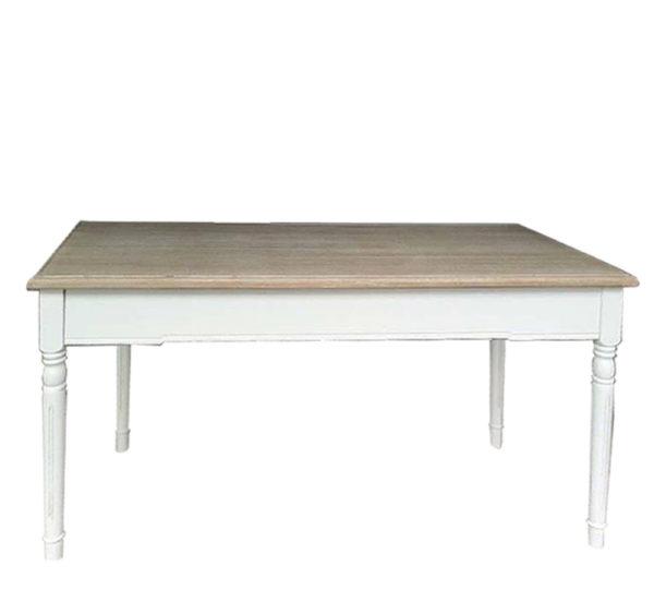 Τραπέζι Τραπεζαρίας Λευκό Με Ξύλινο Ντεκαπέ Καπάκι 160x80 Υ80