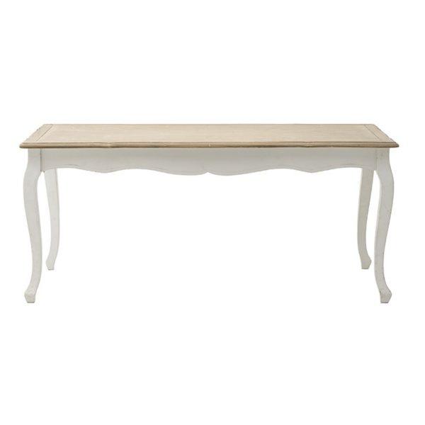 Τραπέζι Τραπεζαρίας Louis Ξύλινο Αντικέ Λευκό Με Natural Beige Καπάκι 180x90 Υ78