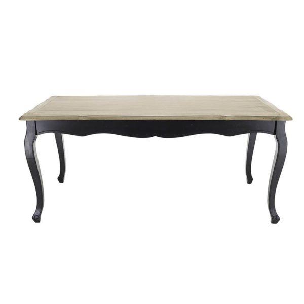 Τραπέζι Τραπεζαρίας Louis Ξύλινο Αντικέ Μαύρο Με Natural Beige Καπάκι 180x90 Υ78