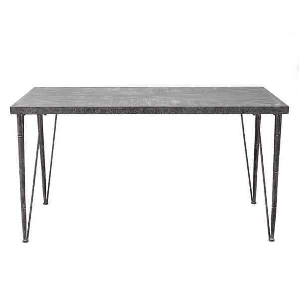 Τραπέζι Τραπεζαρίας Μέταλλο/ Ξύλο Ορθογώνιο Αντικέ Καφέ Μ145 Υ76