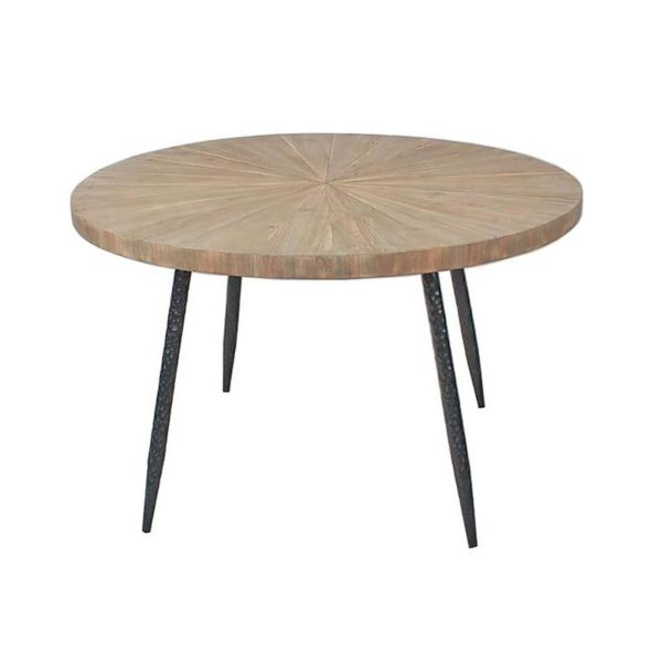Τραπέζι Τραπεζαρίας Στρογγυλό Natural Ξύλο Μασίφ Και Μεταλλικά Πόδια 'Circles' Δ120 Υ75