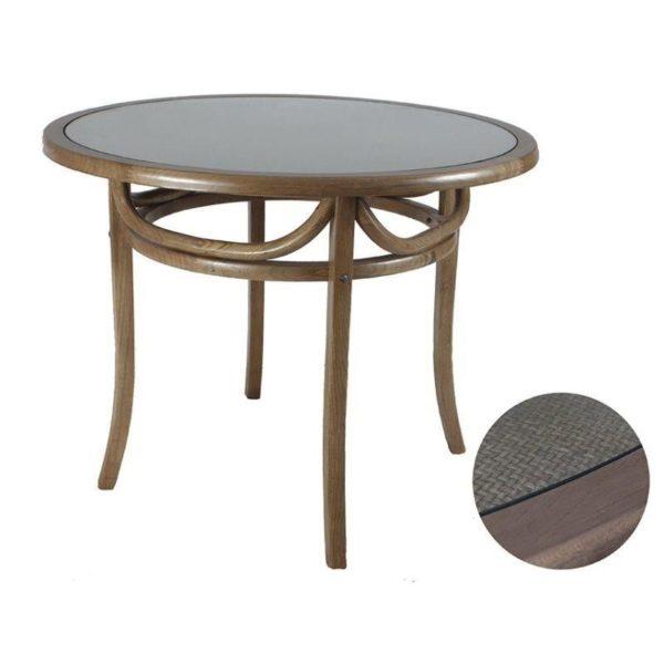 Τραπέζι Τραπεζαρίας Ξύλινο Bistro Στρογγυλό Natural Καφέ Με Γυάλινη Επιφάνεια Δ100 Υ78