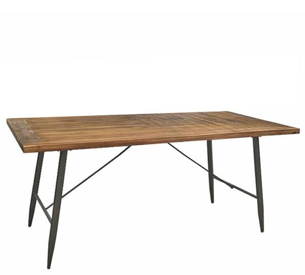 Τραπέζι Τραπεζαρίας Ξύλινο Καφέ Με Παλαίωση Και Μεταλλικά Μαύρα Πόδια Μ160 Υ75