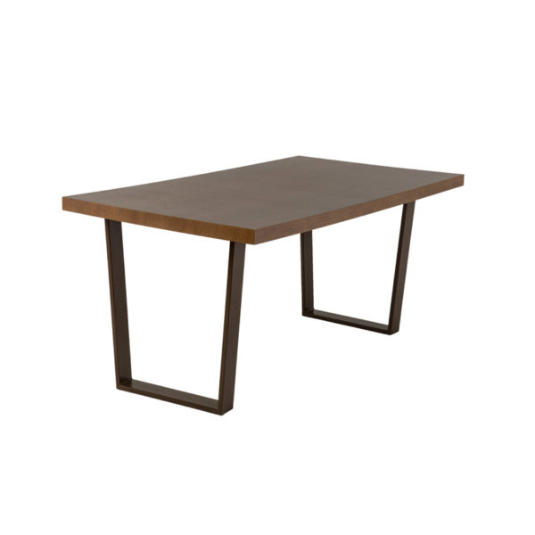 Τραπέζι Τραπεζαρίας Ξύλινο Ορθογώνιο Καπλαμάς Καρυδιάς Με Μεταλλικά Μαύρα Πόδια 160x75