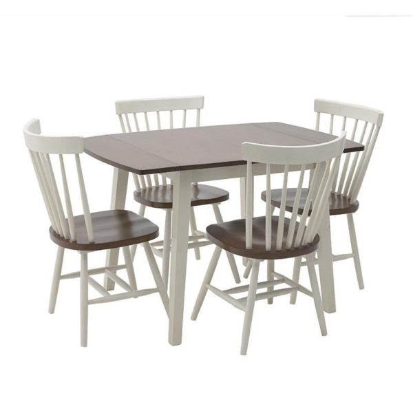 Τραπέζι Τραπεζαρίας Ξύλινο Τετράγωνο Επεκτεινόμενο Με 4 Καρέκλες Λευκό/ Καφέ
