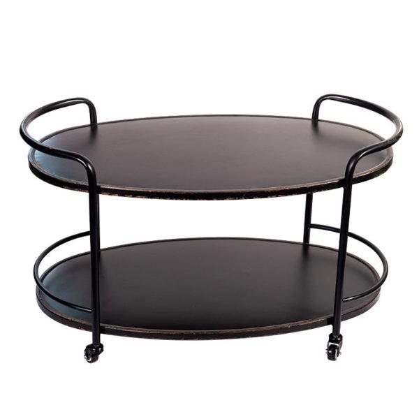 Τραπέζι Τρόλλευ Οβάλ Διθέσιο Μεταλλικό Μαύρο Μ93 Υ55