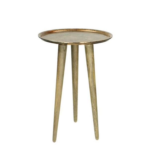 Τραπέζι Βοηθητικό Copper, Από Χυτό Αλουμίνιο Και Ξύλινα Πόδια Υ57