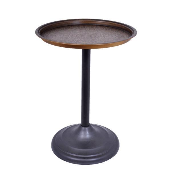 Τραπέζι Βοηθητικό Μεταλλικό Στρογγυλό Μπρονζέ Με Ανάγλυφο Σχέδιο Δ42 Υ55