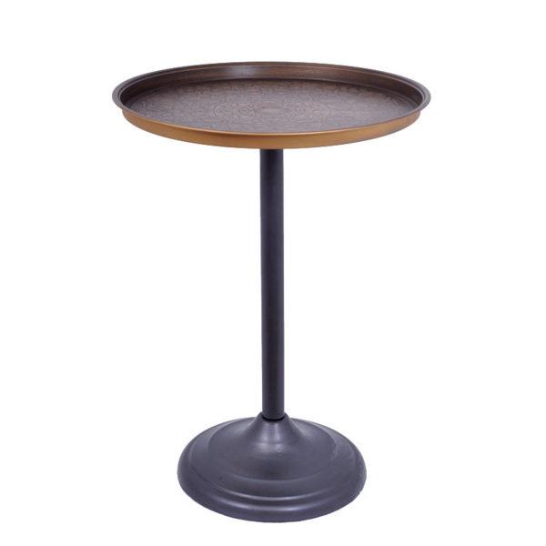 Τραπέζι Βοηθητικό Μεταλλικό Στρογγυλό Μπρονζέ Με Ανάγλυφο Σχέδιο Δ49 Υ66