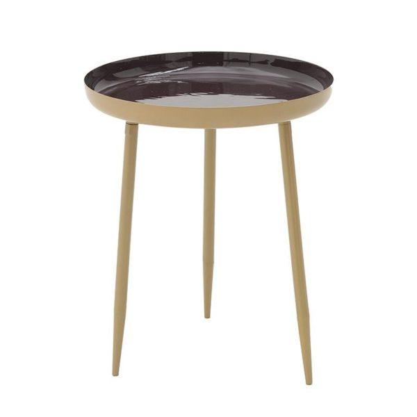 Τραπέζι Βοηθητικό Μεταλλικό Στρόγγυλο Χρυσό/ Μπορντώ Δ37 Υ45