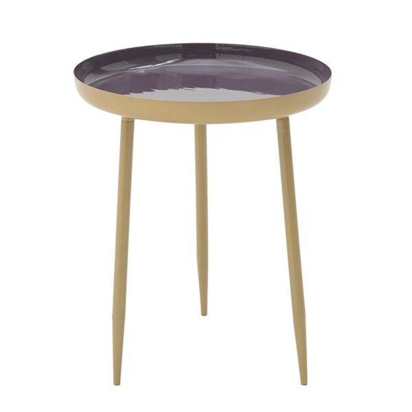 Τραπέζι Βοηθητικό Μεταλλικό Στρόγγυλο Χρυσό/ Μωβ Δ37 Υ45