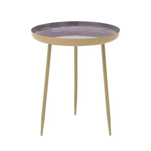 Τραπέζι Βοηθητικό Μεταλλικό Στρόγγυλο Χρυσό/ Μωβ Δ46 Υ55