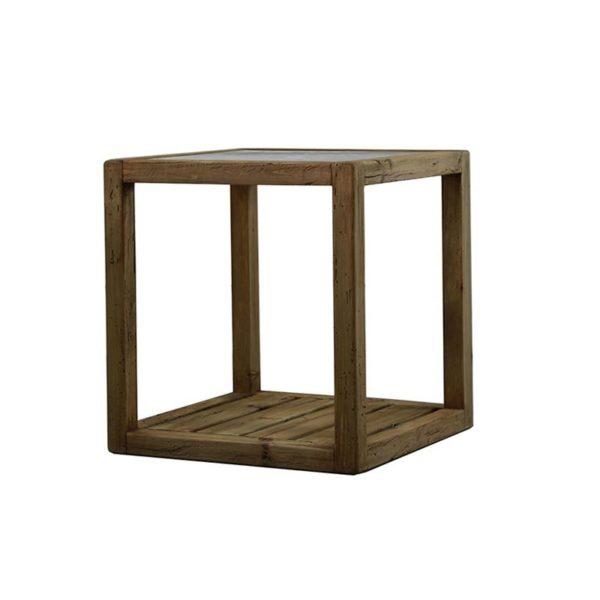 Τραπέζι Βοηθητικό Τετράγωνο Από Παλαιωμένο Ξύλο Πεύκου Με Γυάλινη Επιφάνεια Και Ράφι 60x60 Υ65
