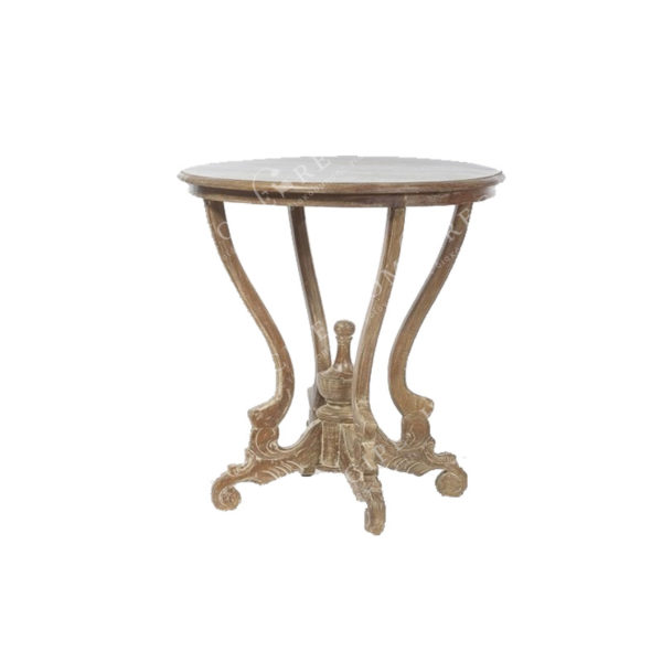 Τραπέζι Βοηθητικό Ξύλινο Κυκλικό Με Σκαλιστά Πόδια Καφέ Δ60 Υ69