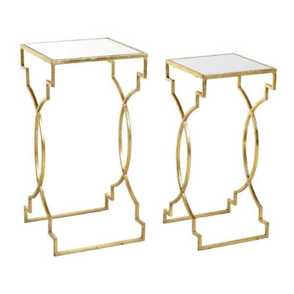 Τραπέζια Βοηθητικά Μεταλλικά Με Γυάλινη Επιφάνεια Χρυσά, Σετ Των 2