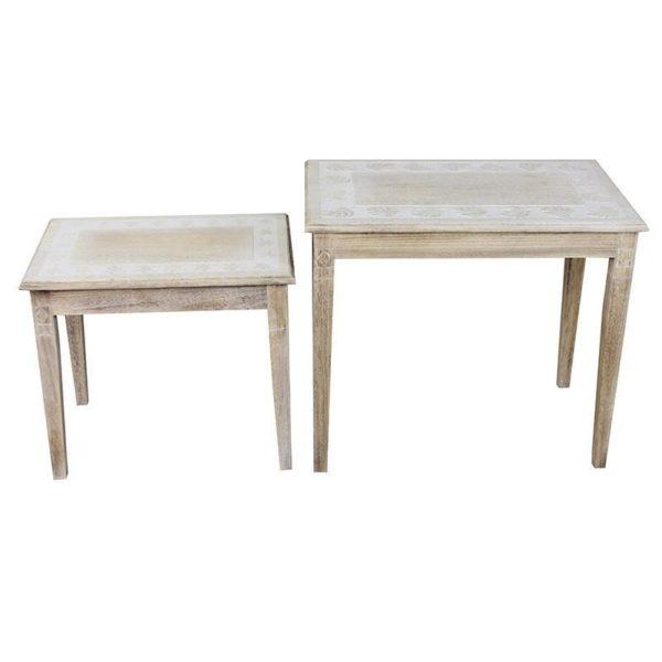 Τραπέζια Βοηθητικά Natural Beige Από Μασίφ Ξύλο Και Ανάγλυφα Σχέδια Υ56