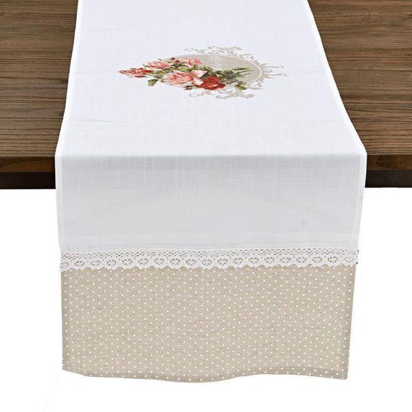 Τραβέρσα Μπεζ Λευκή Πουά Υφασμάτινη Με Λουλούδια
