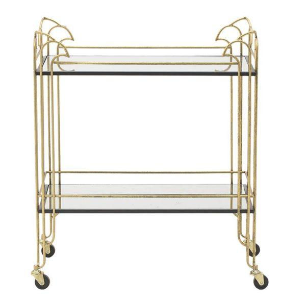 Trolley Bar Μεταλλικό Χρυσό Με Καθρέπτη Art Deco 72x40x85, Inart