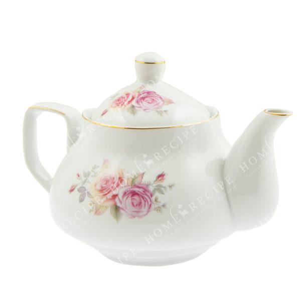 Tσαγιέρα Πορσελάνινη Λευκή Με Πολύχρωμα Τριαντάφυλλα Ζ