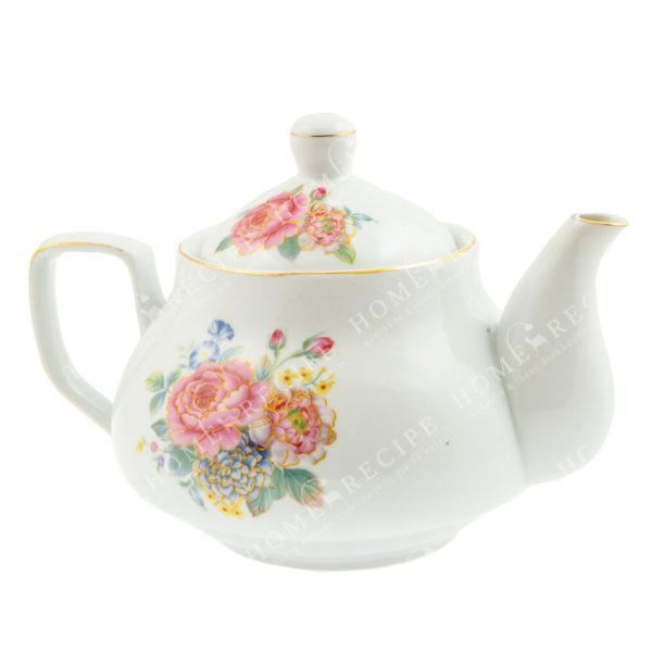 Tσαγιέρα Πορσελάνινη Λευκή Με Ροζ/ Γαλάζια Λουλούδια Β