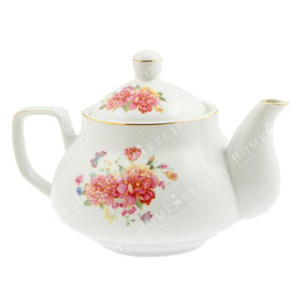 Tσαγιέρα Πορσελάνινη Λευκή Με Ροζ/ Κόκκινα Λουλούδια Γ
