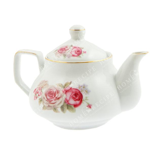 Tσαγιέρα Πορσελάνινη Λευκή Με Ροζ/ Κόκκινα Τριαντάφυλλα Δ