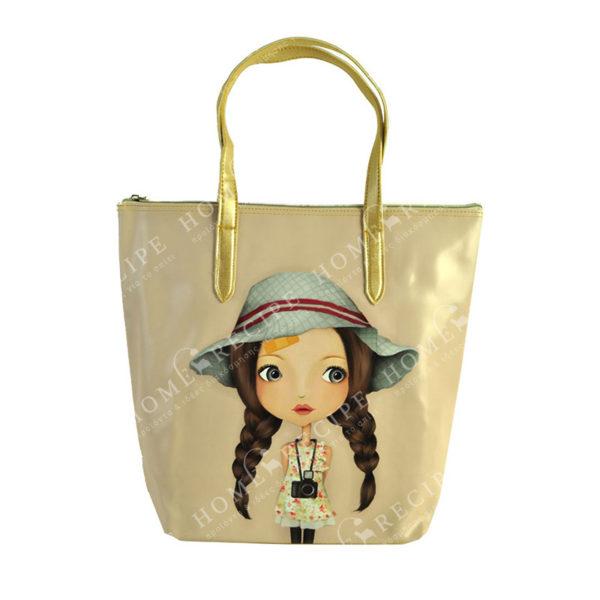 """Τσάντα Ώμου Δερματίνη Μπεζ """"Κοριτσάκι"""", Με Χρυσό Μεταλλιζέ Λουρί S"""