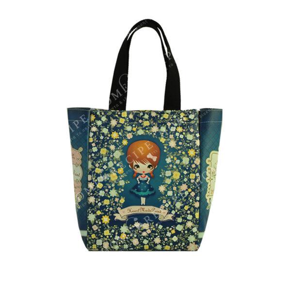 """Τσάντα Ώμου Δερματίνη Μπλε/ Χρυσό """"Κοριτσάκι - Λουλούδια"""", Με Υφασμάτινο Λουράκι"""