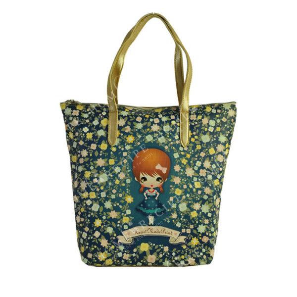 """Τσάντα Ώμου Δερματίνη Μπλε """"Κοριτσάκι - Λουλούδια"""", Με Χρυσό Μεταλλιζέ Λουρί S"""