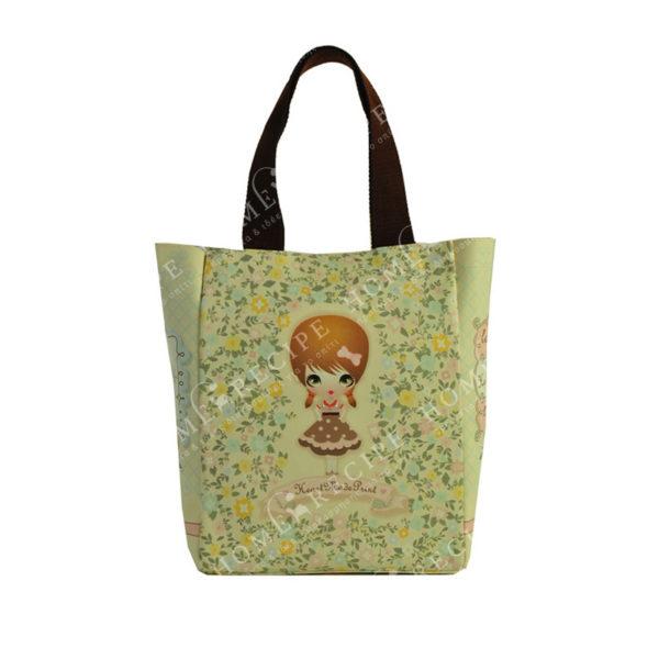 """Τσάντα Ώμου Δερματίνη Κίτρινο/ Χρυσό """"Κοριτσάκι - Λουλούδια"""", Με Υφασμάτινο Λουράκι"""